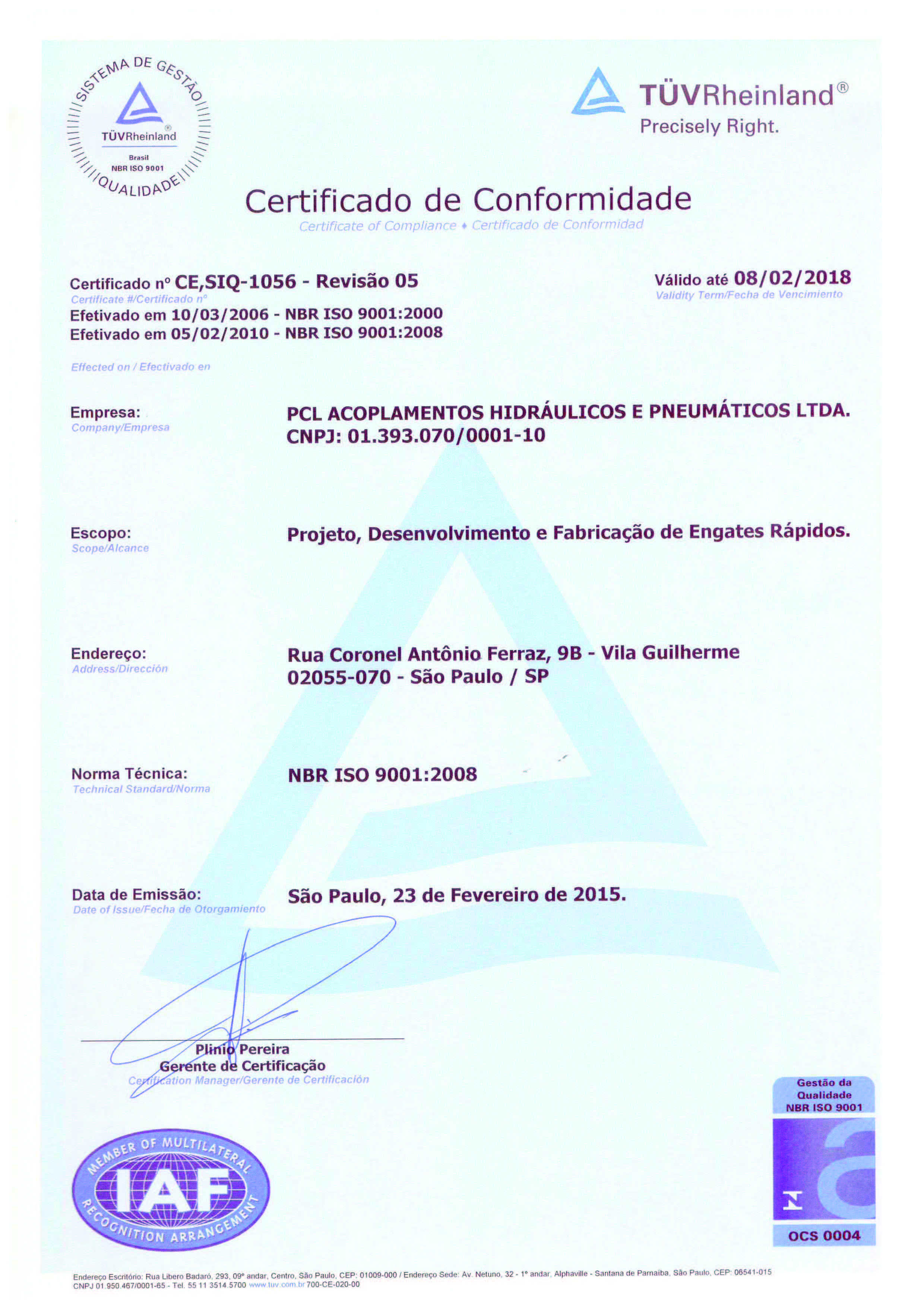 ISO 9001 PCL